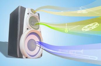 Caixas de som emitindo ondas sonoras
