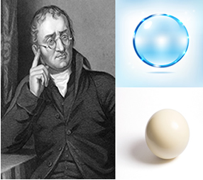 Modelo de Dalton para o átomo, parecido com uma bola de bilhar