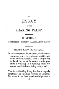 Primeira página do primeiro artigo que caracterizou a doença de Parkinson