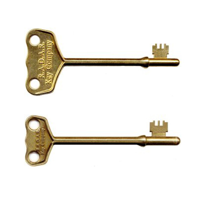 Image shows the two sizes of RADAR key, lay flat on a white background