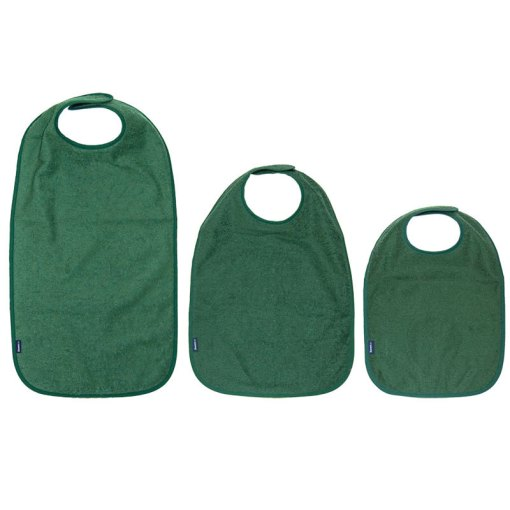 Image shows a photograph of three sizes of cotton apron, left-to-right from large to small, in a Racing Green colour
