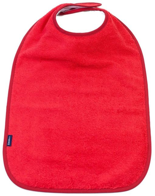 Image shows a photograph of the Seenin Children's Cotton Towelling Bib in red with a white background