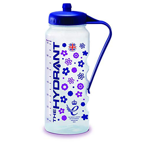 Image is a photograph of the Hydrant water bottle with floral pattern in blue and purple, on a white background