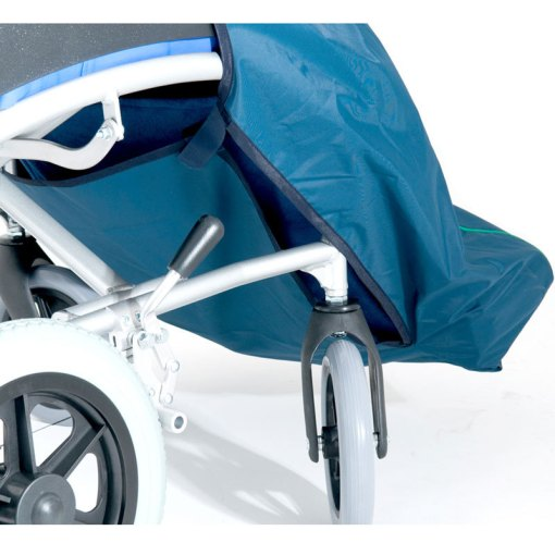 Image is a photograph of the front side wheels of a wheelchair to illustrate the leg flap on the waterproof wheelchair leg protector