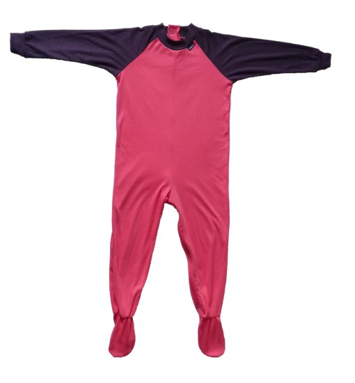 Image shows a photograph of a Seenin sleepsuit lay flat on a white background in colours of pink and purple