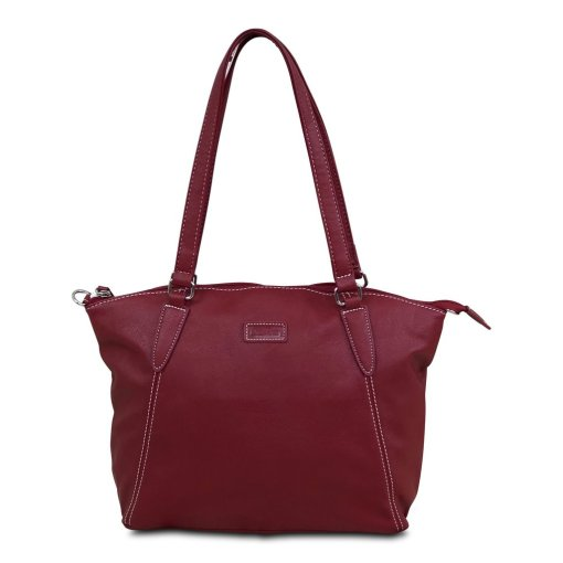 "Image shows a photograph of the Samantha Renke inclusive bag in a ""Berry"" colour on a white background"