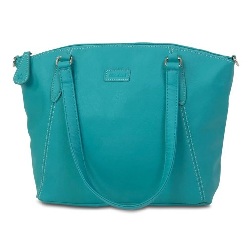 Image shows a side view of the Sam Renke handbag in a teal colour, on a white background.