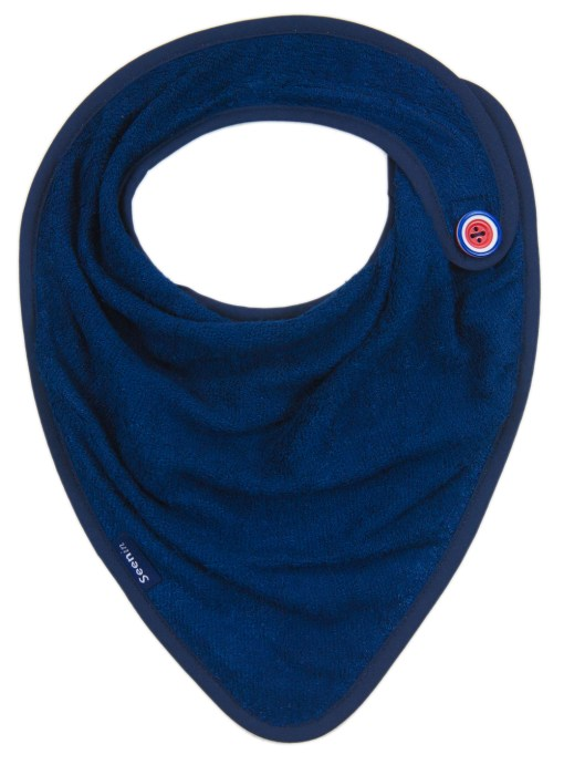 Image shows a photograph of a navy blue bamboo towelling kerchief with a red, white and blue concentric circle-designed button sewn on to one side.