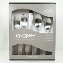 Image is a photograph of the packaging for the Knork 5 piece cutlery set
