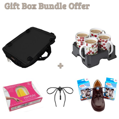 "Image is a composite of 5 photographs, including the Trabasack Mini, Muggi tray in dark grey, Nimble cutting tool in packaging, black Greeper sports laces and Thomas the Tank Engine Greeper laces. Text reads ""Gift box bundle offer - Trabasack Mini, Muggi, Nimble, Greeper Sports laces and Thomas the Tank Engine Greeper laces"""