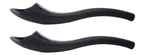 Image is a photograph of two black standard-sized S'up Spoons on a white background