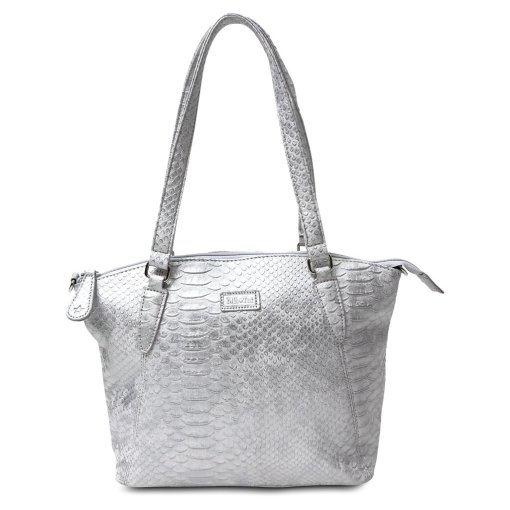 Image is a photograph of a Samantha Renke handbag in a textured crocodile-skin effect silver design, on a white background