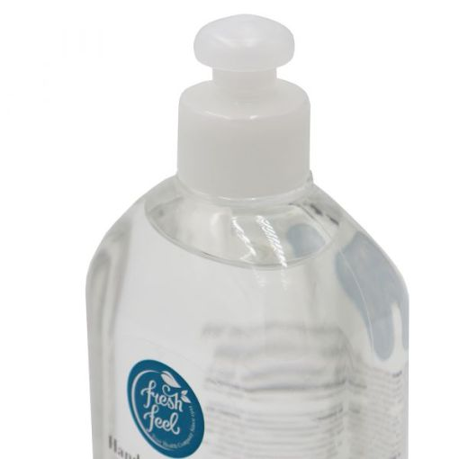 Image is a photograph of the top of a clear, plastic bottle of alcohol hand sanitiser 500ml, with sports cap lid