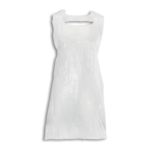 Image is a white polythene apron displayed as if fitted and tied around a person's body