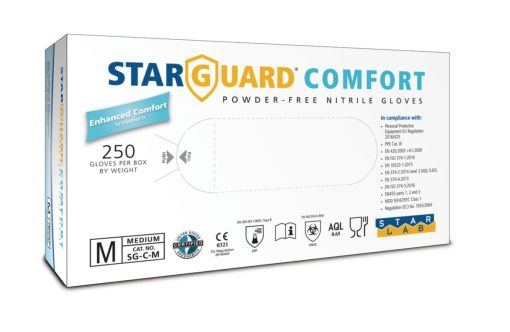 Image is a photograph of the packaging box for the Comfort nitrile medical gloves