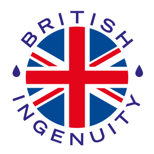 "Image is a logo for Hydrate for Health which features a circular Union Flag in the centre, with text around it in a circle reading ""BRITISH INGENUITY"" punctuated by small, blue water drops"