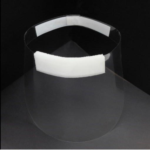 Image is a photograph showing an isometric view from above of the Hydrate for Health full face visor