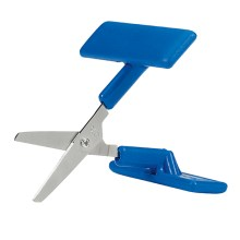 Image is a photograph of the Peta-UK table-top, push down scissors with large blue, push-down handles and rounded blade tips