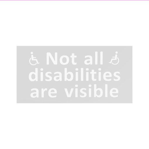 "Image is a sticker which features a grey box with white text which reads ""Not all disabilities are visible"" alongside two white disability symbols"