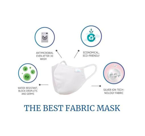 """Image is a photograph of a white fabric face mask, with four illustrated circles radiating from the mask - the first circle features an illustration of cartoon virus, with text which reads """"Water-resistant, blocks droplets and germs"""". The second circle is an illustration of a washing machine with text which reads """"Antimicrobial even after 30 washes"""". The third circle features the symbol for recycling, with text which reads """"Economical, eco-friendly"""". The fourth circle features a silver bubble with """"Ag+"""" inside - text reads """"Silver ion technology fabric - The best fabric mask"""""""