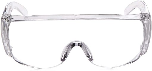 Image is a photograph of the front view of a pair of clear framed safety glasses