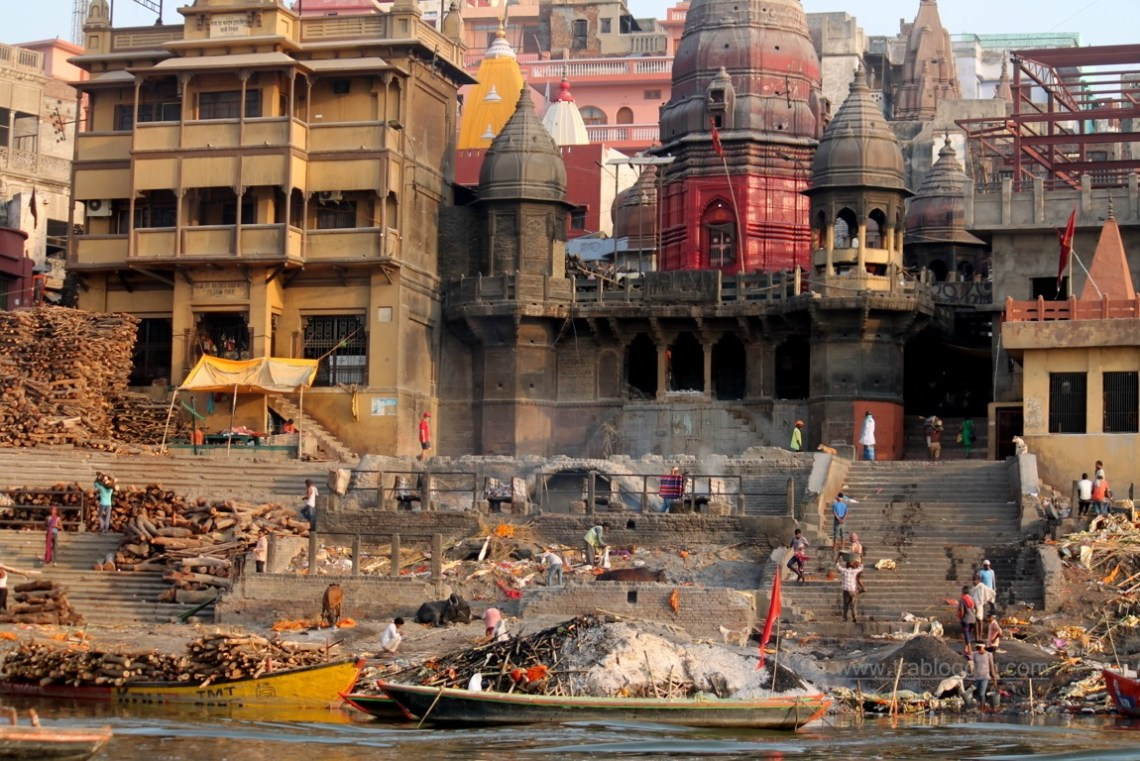 One of the cremation ghats in Varanasi