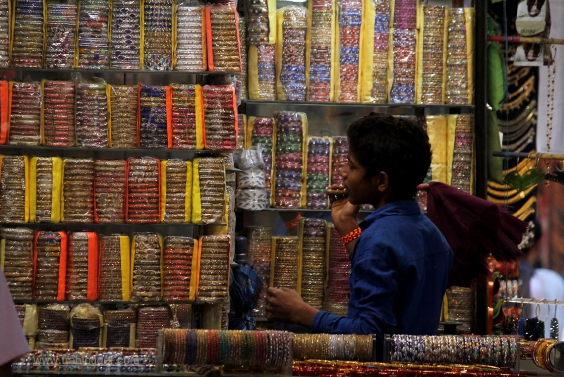 Young shopkeeper at Varanasi