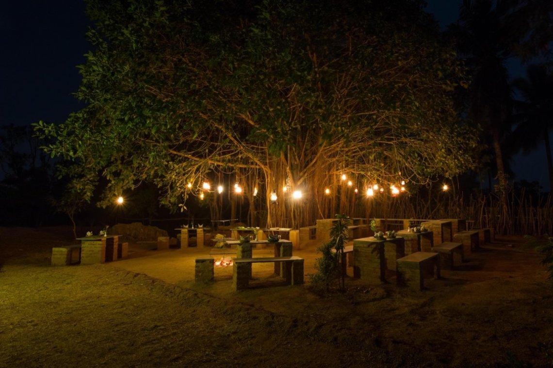 Forest themed Dinner setting at Heritage Resort Hampi