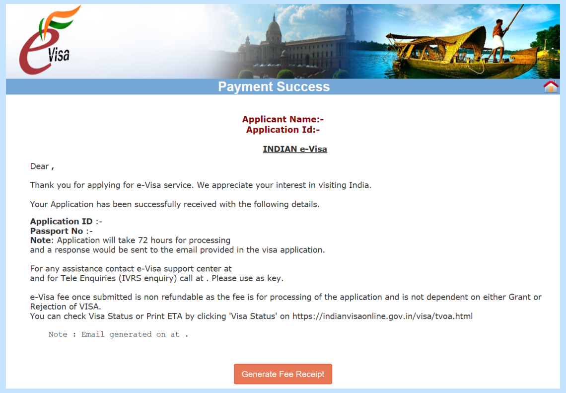 indian evisa payment successful window