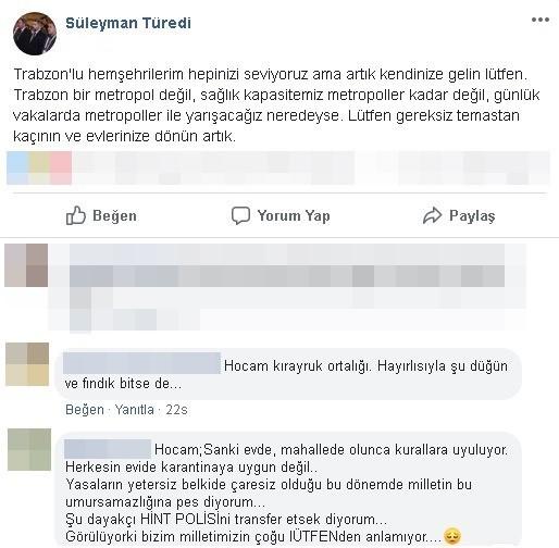 """Başhekim Trabzonluları böyle uyardı: """"Artık kendinize gelin"""""""
