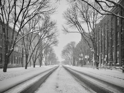 Main Street, Holyoke in the snow — copyright Trace Meek