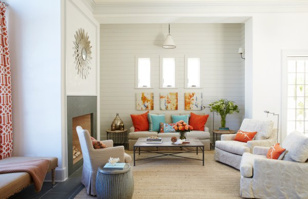 Coral and Blue Beach House Interior