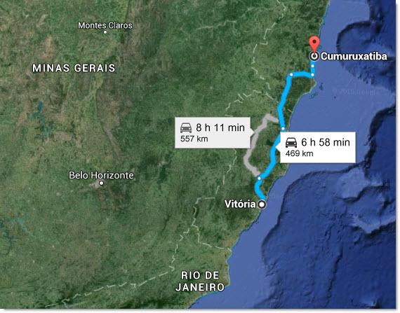 trajet Vitoria Cumuruxatiba