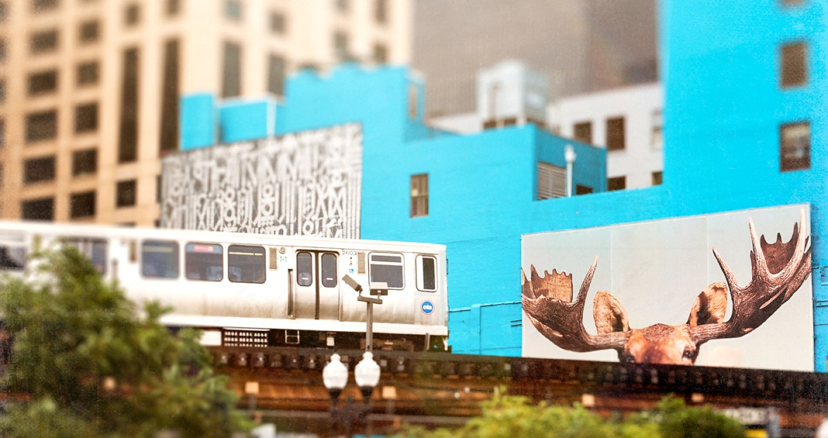 Photograph of a CTA train passing through the Wabash Arts Corridor in the South Loop