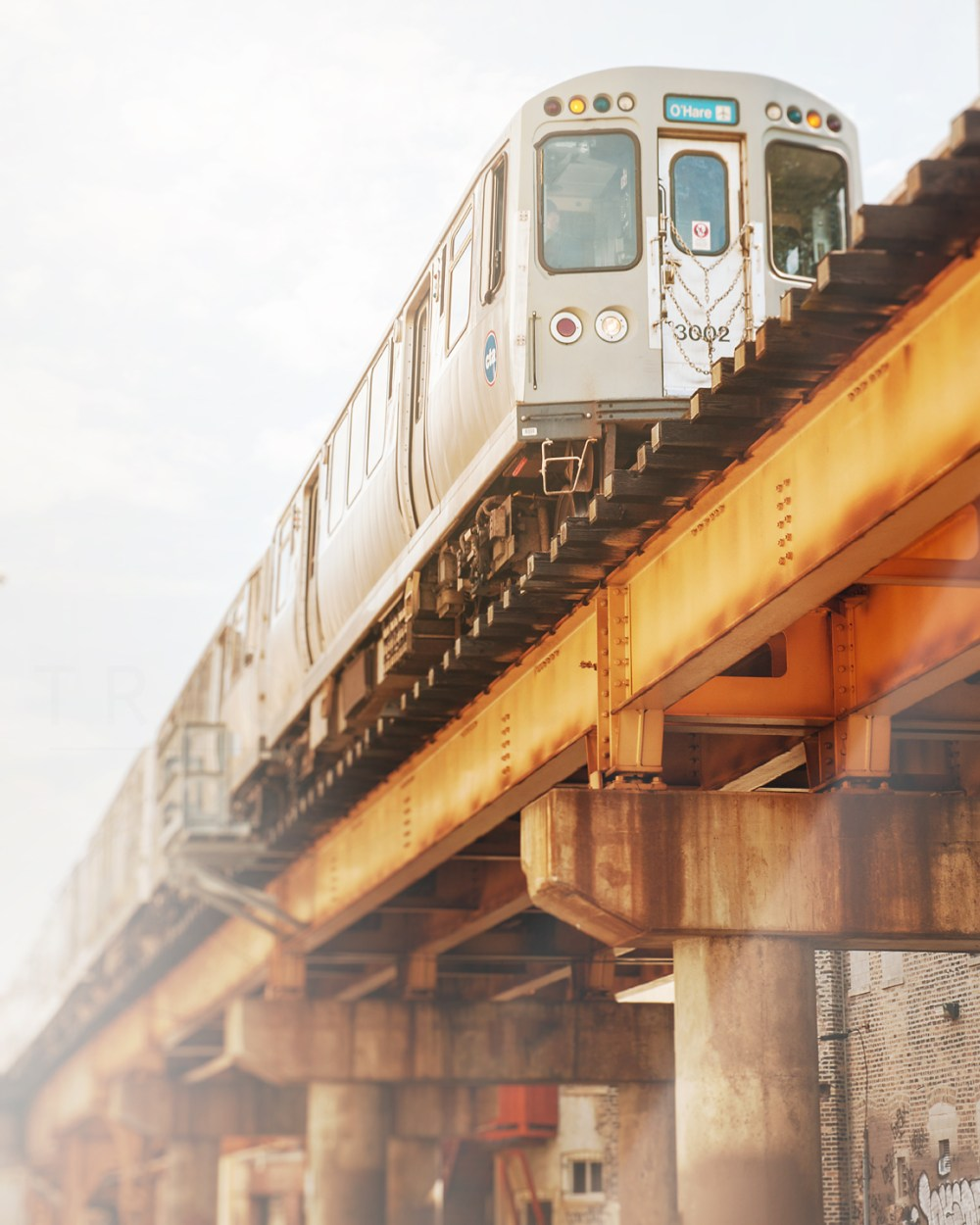 Chicago CTA Blue Line train headed towards O'Hare in the Wicker Park Neighborhood. Photograph by Tracey Capone