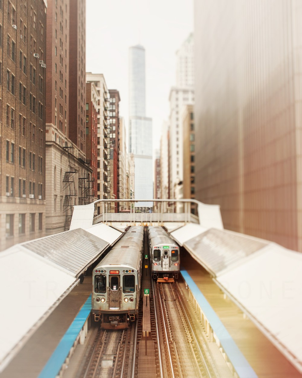 Two Chicago CTA trains running along the elevated tracks along Wabash. Chicago photography by Tracey Capone
