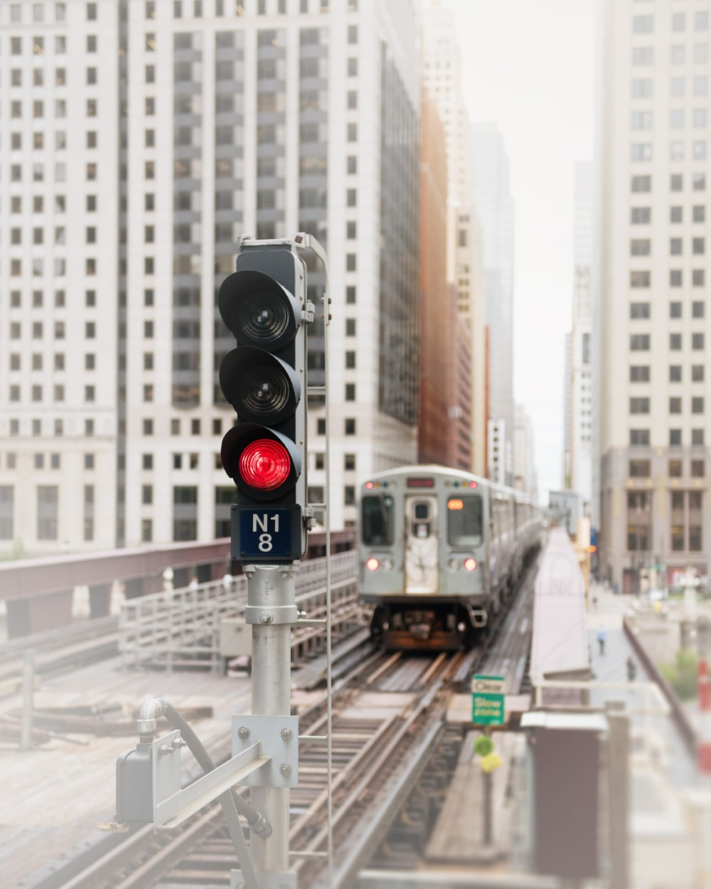 CTA Orange line leaving the Merchandise Mart in the Loop in downtown Chicago. Photography by local artist Tracey Capone.