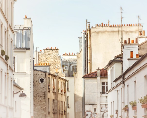 Rooftops of the Parisian apartments in Montmartre by Chicago artist Tracey Capone