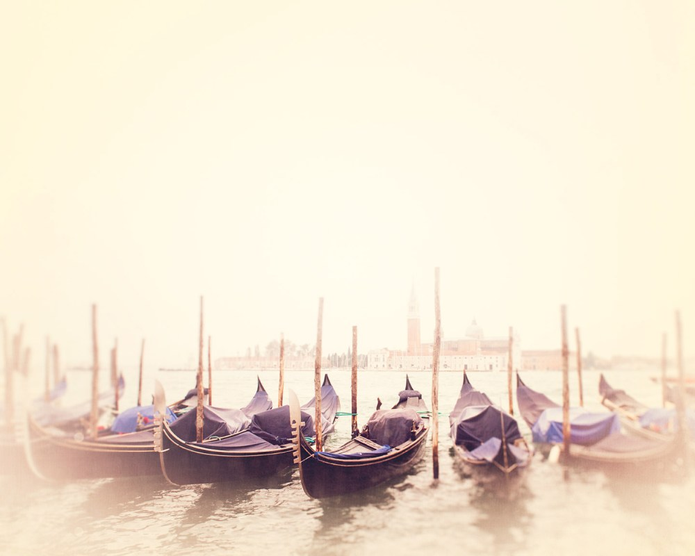 Photograph of a line of gondolas on a foggy day on the Grand Canal by Tracey Capone