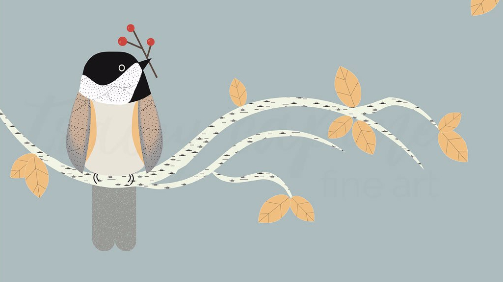 Original illustration of a chickadee bird holding a twig of red berries by Chicago artist Tracey Capone.
