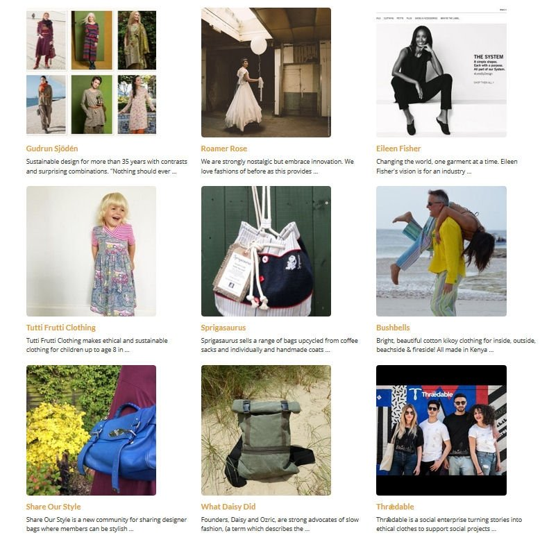 A selection of ethical fashion brands on our Ethical Fashion Directory