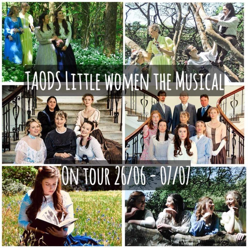 A montage of photos showing the March family ready for the Little Women musical tour