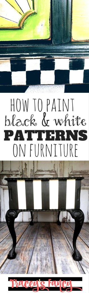 How to Paint Black and White Patterns on Furniture | Tracey's Fancy