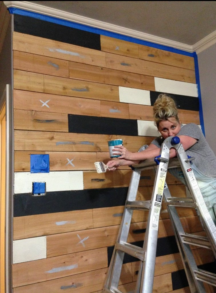 Tracey Building her Metallic Wood Plank Wall