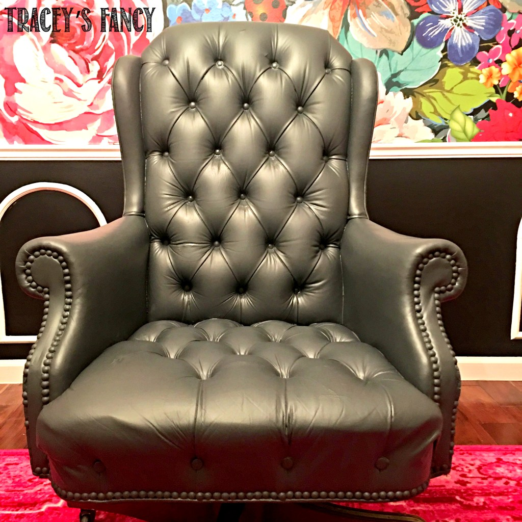 Painted Gray Leather Chair by Tracey's Fancy
