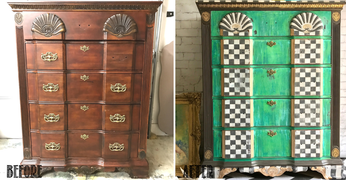 Grunge Painted Dresser-Tracey's Fancy-Before&After