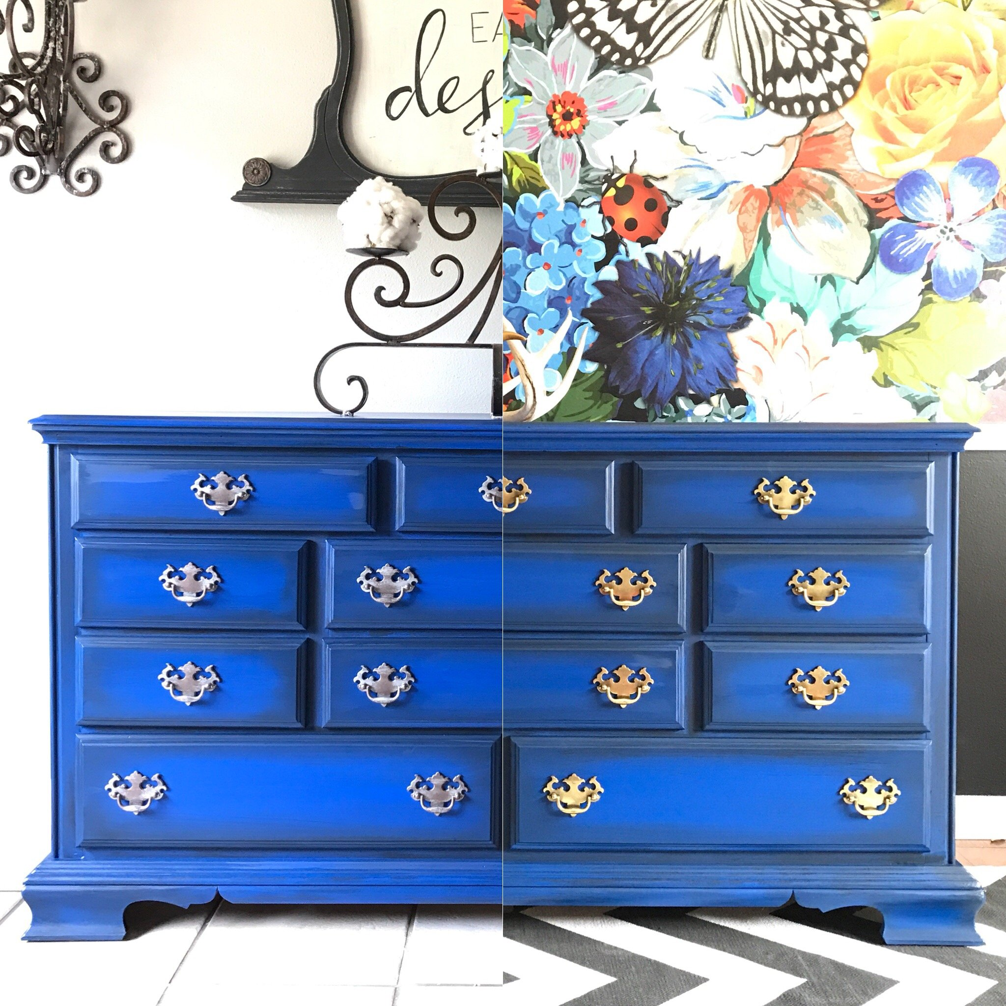 Cobalt Blue Dresser with Metallic Handles Tracey's Fancy