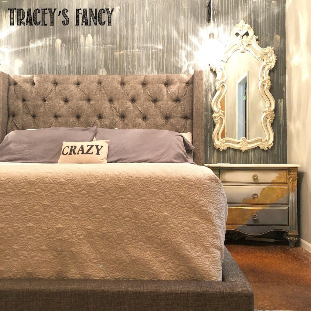 Rain washed wall mural in master bedroom makeover by Tracey's Fancy