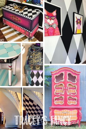 Harlequin Patterned Furniture and Art Pieces by Tracey's Fancy