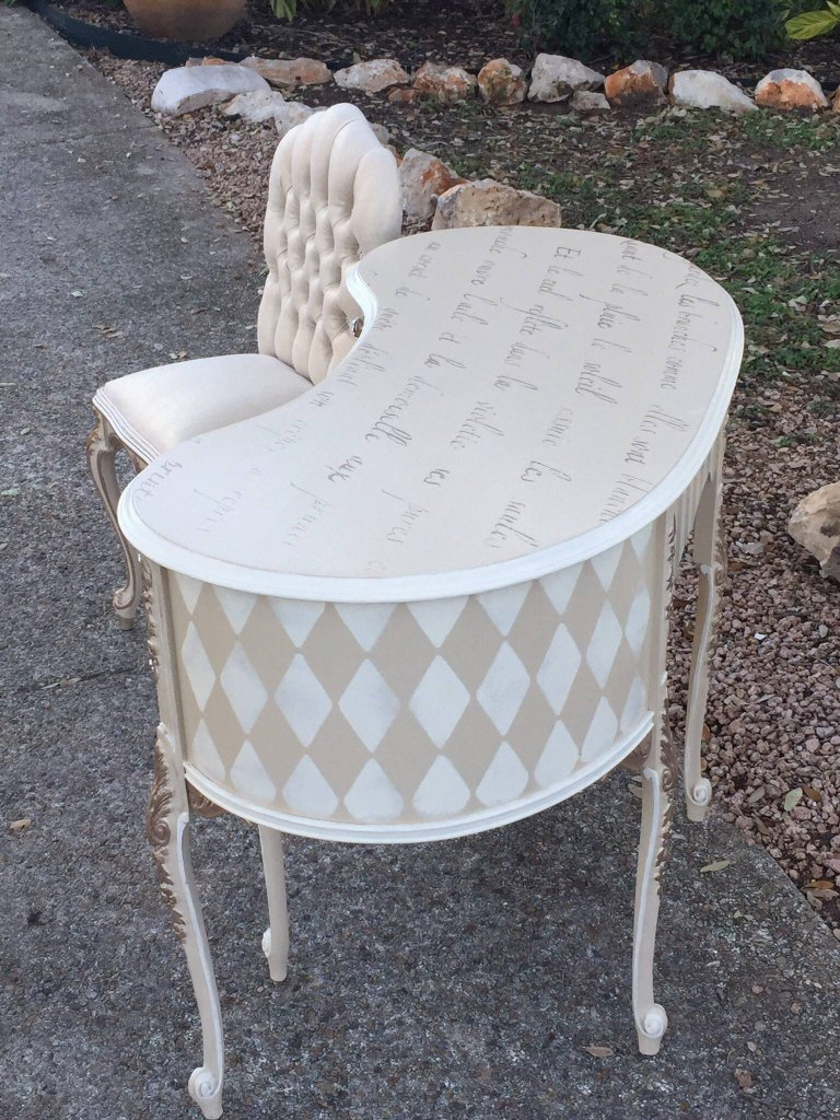 Tan Kidney Shaped Harlequin Patterned Desk by Traceys Fancy